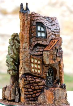 House for fairies Clay Houses, Ceramic Houses, Stone Houses, Miniature Houses, Gnome House, House 2, Fairy Garden Houses, Fairy Gardens, Wood Bark