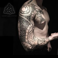 Here's another shot of Ethan's wolf sleeve so far. All dots. No solid lines. Enjoy :) #viking #vikings #vikingart #vikingtattoo #nordic #nordicart #nordictattoo #dotwork #dotworktattoo #knotwork #knotworktattoo #fenrir #fenris #valknut #runes #futhark #futharktattoo #freehand #nostencil