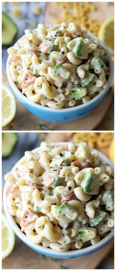 Bacon and Avocado Macaroni Salad - Loaded with fresh avocado andapplewood smoked bacon tossed in a lemon-thyme dressing!