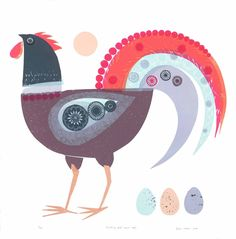Jane Ormes  -    HEY, ISN'T  THAT A ROOSTER... ?!  IF -LIKE I THINK IT IS- IT IS.... WHAT THE HELL IS IT DOING, LAYING EGGS???!  I still love the design of the (confused) rooster though! LOL!