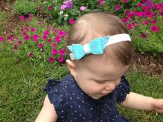Elsa Felt Bow Headband, Frozen-Inspired Hair Bow Headband, Blue and Teal Ice Princess Headband, Blue Headband