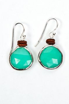 Green faceted Chrysoprase and leather earrings by NicoleArdis, $49.00