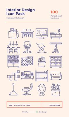 Series of 100 pixel-perfect icons, created by influence of interior design, construction & repair. This set includes icons of furniture, interior designer Website Layout, Web Layout, Layout Design, Mobile Design, App Design, Icon Design, Flat Icons, Flat Ui, Kitchen Icon