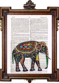 For the study.    INDIAN ART ELEPHANT Colorful Upcycled Art Print by TreasuresByUs, $6.50