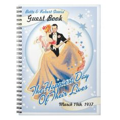 This special guest book matches your Hooray For Hollywood Wedding Invitation. It will add to a wedding day filled with Hollywood glamour. Designed to resemble a classic movie poster, this unique design is perfect for a glitzy musical themed wedding, or for any nostalgic couple who loves old Hollywood style. Be sure to customize one of the Hollywood Wedding signs to post to remind your guests to sign in. What a wonderful keepsake.
