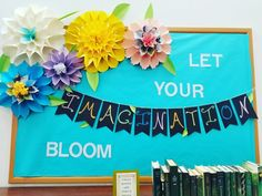 Original Spring Library Bulletin Board Let Your Imagination Bloom in Spring Libr. - Original Spring Library Bulletin Board Let Your Imagination Bloom in Spring Libr.