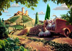 """Carl Warner. Foodscapes. """"tuscan landscape"""""""