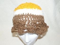 FREE SHIPPING Girls Crochet Hat Gold Cloche Floppy by lanacooper, $18.50