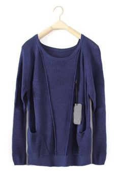 Blue Long Sleeve Pockets Wool Pullovers Sweater