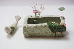 하늘빚다 사각수반 : 네이버 블로그 Ceramic Boxes, Flower Frog, Ceramic Jewelry, Sculpture, Ikebana, Planting Succulents, Garden Art, Terracotta, Diy And Crafts