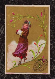 Woman Roller Skating on Stem Clark's Mile-End Spool Cotton Victorian Trade Card