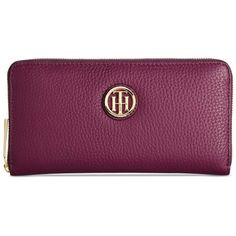 Tommy Hilfiger Lucky Charm Large Pebble Leather Zip Around Wallet (€79) ❤ liked on Polyvore featuring bags, wallets, beaujolais, tommy hilfiger wallet, purple bag, pocket wallet, tommy hilfiger bags and purple wallet