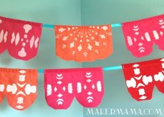 Fabric papel picado, make for wedding, keep for heirloom quilt! Wedding colors: orange, red, pink, turquoise