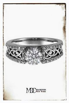 Celtic Engagement Ring Pave Diamonds band