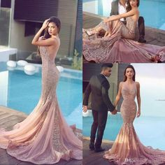 2016 Sexy Arabic Evening Dresses Wear Illusion Neck Mermaid Lace Appliques Beads Sheer Back Long Cheap Formal Said Mhamad Prom Party Gowns Online with $159.17/Piece on Haiyan4419's Store | DHgate.com