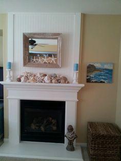 My coastal fireplace Coastal Bathrooms, Coastal Living Rooms, Coastal Cottage, Coastal Homes, Coastal Farmhouse, Coastal Entryway, Coastal Decor, Coastal Style, Coastal Lighting