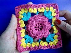 Crochet Granny Square w/ Flower - Video Tutorial