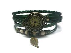 Green Womens Bohemian Watch Vintage Beaded Watch by BriAndAshStore