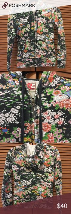 Lucky Brand Asian floral hoodie sweatshirt jacket Size XS. Vintage wash. 100% cotton. Bust is 32 inches and length is 22 inches. Bundle two or more items from my closet and save! Lucky Brand Tops Sweatshirts & Hoodies