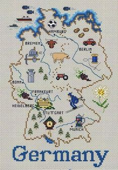Map of Germany - cross stitch pattern by Sue Hillis Designs - An attractive pictorial map with major cities marked and pictures of local produce such as milk, beer and cuckoo clocks. Cross Stitch Fabric, Cross Stitch Kits, Cross Stitch Designs, Cross Stitching, Cross Stitch Embroidery, Cross Stitch Patterns, Buch Design, Hand Embroidery Patterns, Cuckoo Clocks