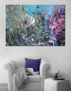 Underwater meditation – Large 39″x28″ Original Oil Painting – ready to hang palette knife impasto