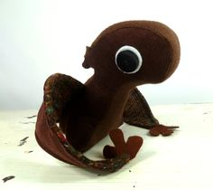 SALE Plush Pterodactyl in Chocolate Brown Corduroy Handmade with Upcycled, Recycled, & Eco Friendly Materials. $22.00, via Etsy.