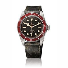 Tudor Gents Heritage Black Bay Red & Leather Strap Watch: £2,120.00