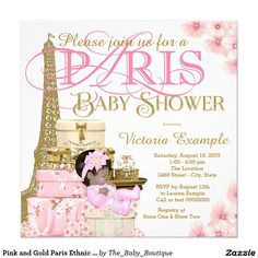 Pink and Gold Paris Ethnic Girl Baby Shower 5.25x5.25 Square Paper Invitation Card