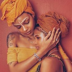 """Side by Side or Miles Apart We Are Sisters Connected by the Heart"""" Photo: Olaj Arel In Guinea Bissau Turbans, Black Girls Rock, Black Girl Magic, African Beauty, African Fashion, African Style, African Art, Beautiful Black Women, Beautiful People"""