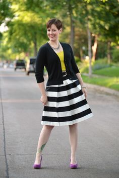 Already Pretty outfit featuring black cardigan, chartreuse tank, black and white striped skirt, purple pumps, statement necklace, black belt
