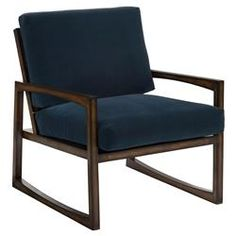 Kennet Modern Navy Velvet Angular Wood Armchair | Kathy Kuo Home
