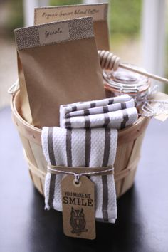 Sweet little presents... Coffee, granola, honey, dish towels in a cute basket....