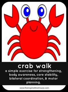 Looking for a quick, easy, do-it-anywhere, no set-up required way to practice gross motor skills? This crab walk gross motor skills challenge is perfect! Ocean Activities, Motor Skills Activities, Movement Activities, Gross Motor Skills, Therapy Activities, Learning Activities, Preschool Activities, Physical Activities, Physical Education