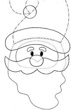 Santa pattern to make in felt.: loads of Christmas felt patterns!Wool Felt Christmas by Ei Menina!Template for Santa Ornament Many felty patterns. Felt Christmas Decorations, Felt Christmas Ornaments, Noel Christmas, Christmas Stockings, Christmas Applique, Christmas Sewing, Christmas Templates, Christmas Printables, Christmas Stencils