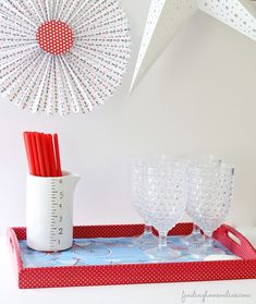 Upcycle a Tray with a Shopping Bag and Washi Tape!  via Finding Home