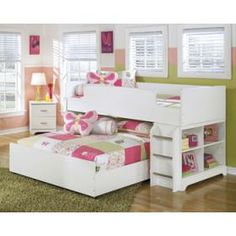 The light airy cottage design of the Lulu youth bedroom collection features a replicated white paint finish flowing beautifully over the grooved panels and embossed bead framing to make this innovative furniture an inviting addition to any child's bedroom