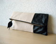 Leather Clutch in Black Italian Leather and Beige by iragrant, CHF42.00
