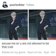 SKATE ON MY GRAVE. (I wish I could use markdown in Instagram I wanna scream about the things I love in bold like in tumblr or Reddit) - Credits in photo Please don't repost without crediting the owner - #anime #yurionice #yoi #victornikiforov #meme