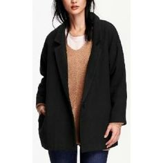 Jacquard Textured Open Front Coatigan- Black Jack Fall will ne here before you know it and this is the perfect jacket for the cooler weather! Textured fabric of poly/acrylic and 4% wool. One button and side pockets. Popped collar. Color is black jack. Old Navy Jackets & Coats