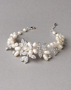 Glistening freshwater pearl bridal bracelet features freshwater pearl flowers accented with rhinestone encrusted leaves. Bridal Bracelet, Bridal Necklace, Wedding Jewelry, Wedding Bracelets, Freshwater Pearl Bracelet, Pearl Jewelry, Pearl Necklace, Ankle Bracelets, Jewelry Bracelets