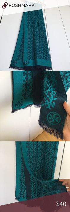 Tory Burch all over T logo scarf Tory Burch All-Over T scarf in 100% wool, color is emerald green. 2.25' wide by 6.75' long. Fringe ends. Purchased from shopbop.com. I included photos of wear, so please purchase accordingly. Steep discount because of wear. Price firm because it's still in good condition. Soft and warm. Comes from a smoke free home. Last photo is the purple version, but it's to show how the two tone color looks on. Tory Burch Accessories Scarves & Wraps