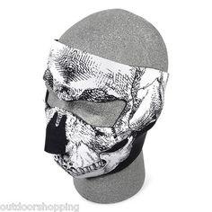 BLACK W/WHITE SKULL NEOPRENE COLD WEATHER FULL FACE MASK