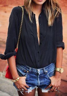 Black Silk Blouse - Denim Cut-Off Shorts - Red Chanel Flap Bag - Red Chanel 2.55 Bag - Gold Boho Jewelry - Gold Michael Kors Watch -1