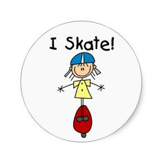 I Skate Stick Figure Stickers Sticker