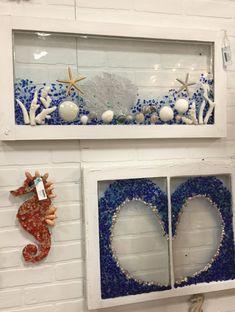 Love my beach themed Resin Artwork. Using antique wood windows, Seashells, Seaglass, Coral and Resin. Seashell Painting, Seashell Art, Seashell Crafts, Beach Crafts, Sea Glass Crafts, Sea Glass Art, Stained Glass, Box Frame Art, Window Art