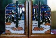 Stained Glass Desert Southwestern Bookends