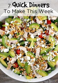 quick dinners to make this week, including Spinach Salad with Chicken, Avocado and Goat Cheese #maincourse #recipe #dinner #recipes #healthy