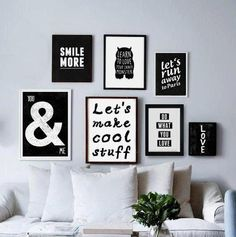 Craft Room Wall Deco Living Salon Black And White Board
