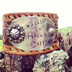 walking in HIGH COTTON vintage leather belt cuff by DirtRoadGirls, $42.00