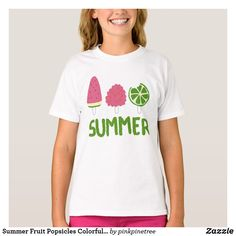 Summer Fruit Popsicles Colorful Cool Design Doodle T-Shirt - summer gifts season diy template ideas Colourful Outfits, Cool Outfits, Colorful, Fruit Popsicles, Raspberry Fruit, Pink Color Schemes, Summer Gifts, Summer Fruit, Summer Of Love